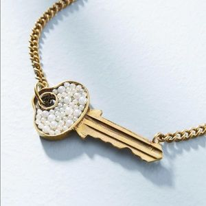 New Anthropologie Pearled Key Necklace